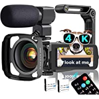Video Camera, TLPUHU 4K Camcorder WiFi Ultra HD 48MP YouTube Camera for Vlogging, 3.1'' IPS Screen 16X Digital Zoom…