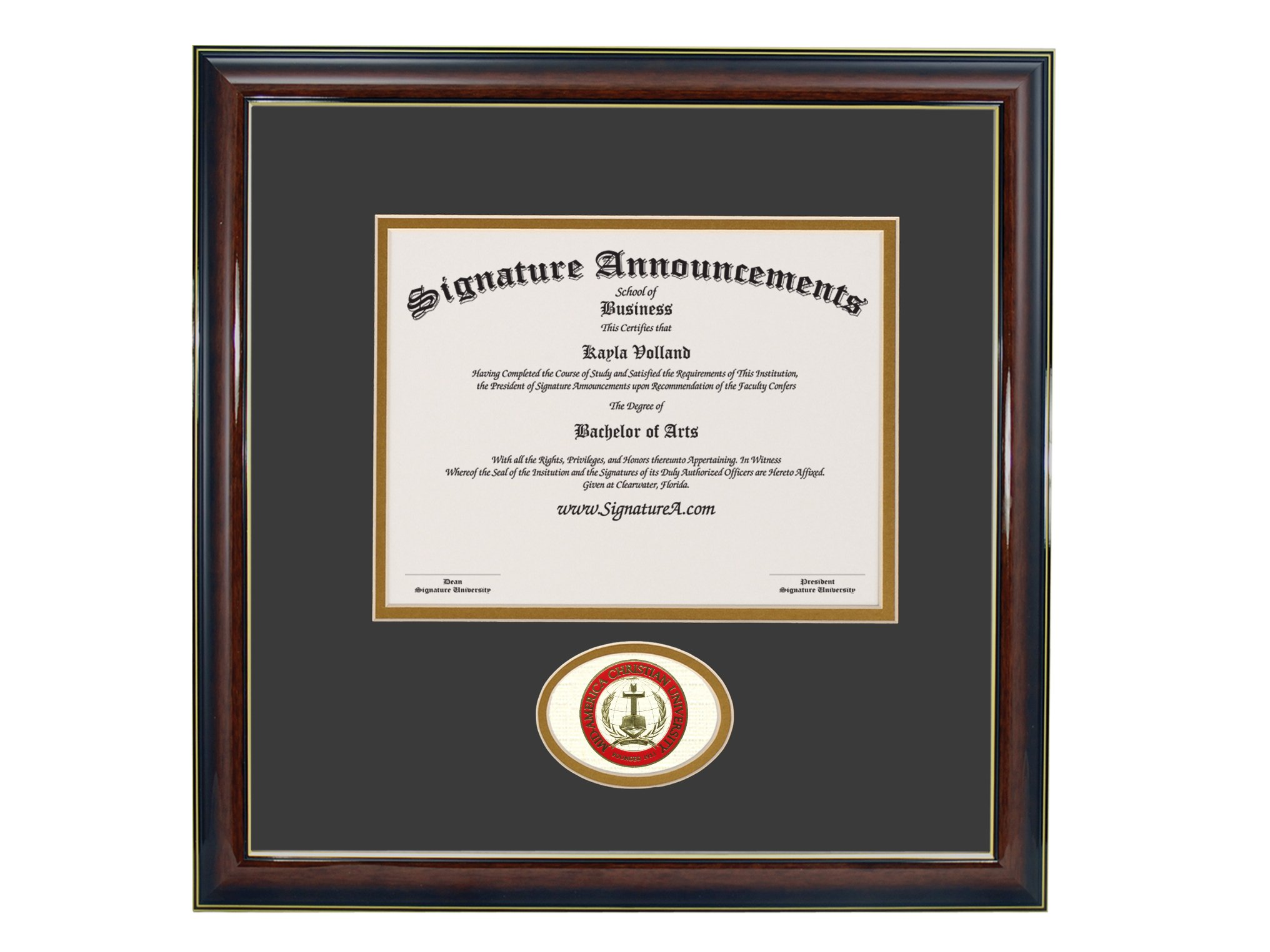 Signature Announcements Mid-America Christian University (MACU) Undergraduate and Graduate/Professional/Doctor Graduation Diploma Frame with Sculpted Foil Seal (Gloss Mahogany w/Gold Accent, 16 x 16) by Signature Announcements