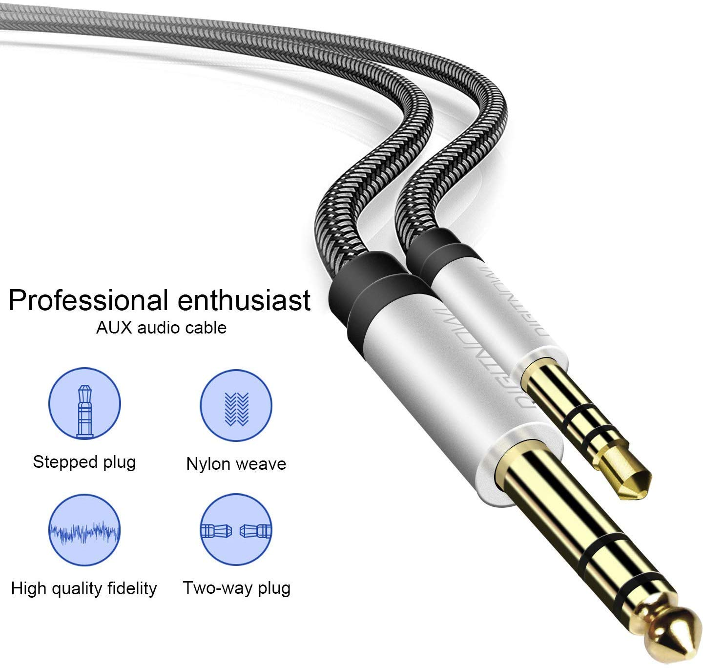 """6.35mm 1/4"""" to 3.5mm 1/8"""" Male TRS Stereo Audio Cable with Alloy Housing and Nylon Braid for Smartphone, PC, Home Theater, Amplifier and Mixing Console, 3Ft"""