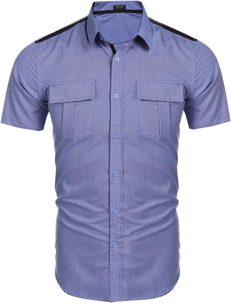 LAmore Camisa Masculina para Oficina Manga Corta Graciosa para Jóvenes Azul Talla-S: Amazon.es: Ropa y accesorios