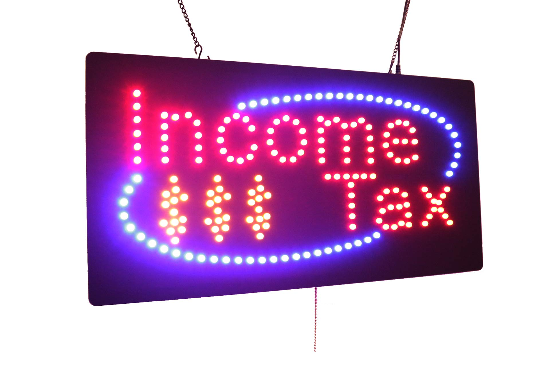 Income Tax Sign, High Quality LED Open Sign, Store Sign, Business Sign, Windows Sign by Topking LED