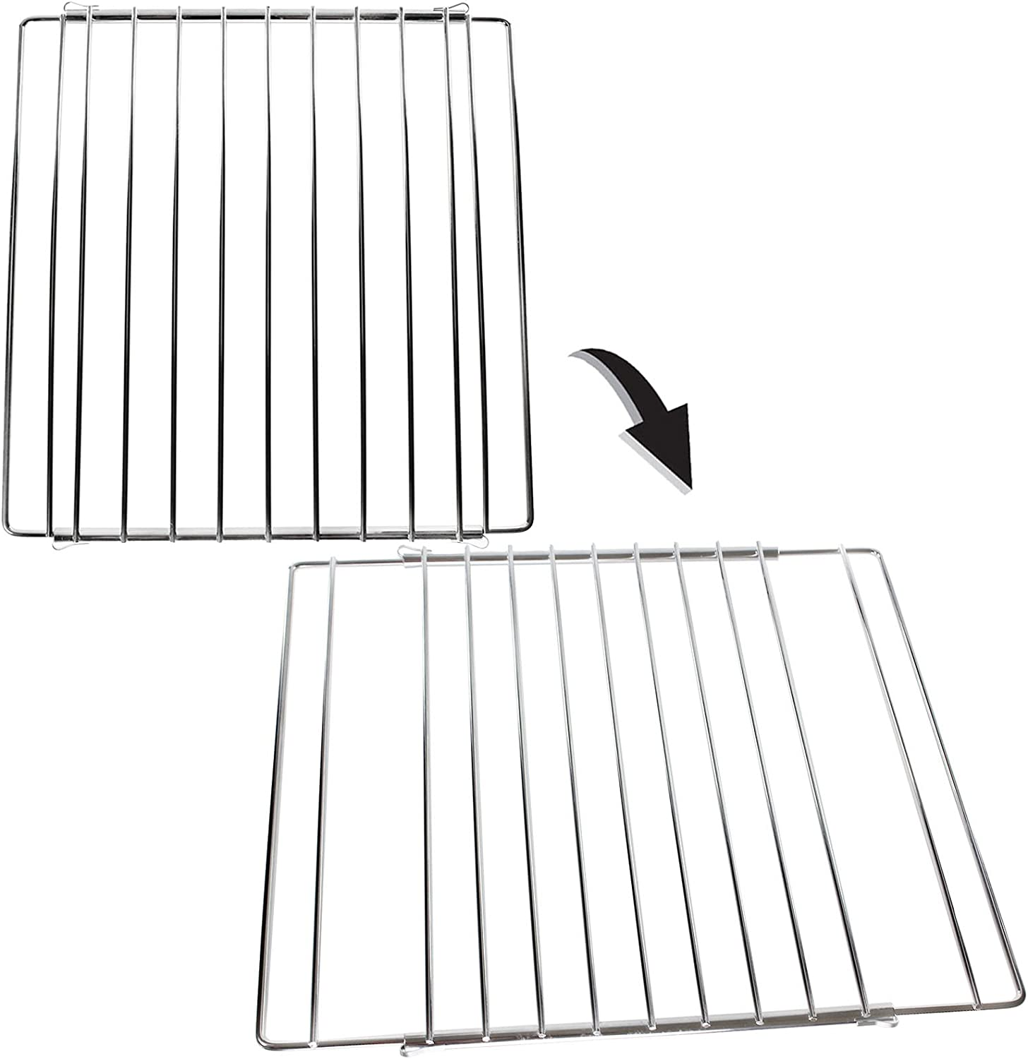 SPARES2GO Universal Adjustable Extendable Small Oven Shelf for Barbecue Grill Pack of 2