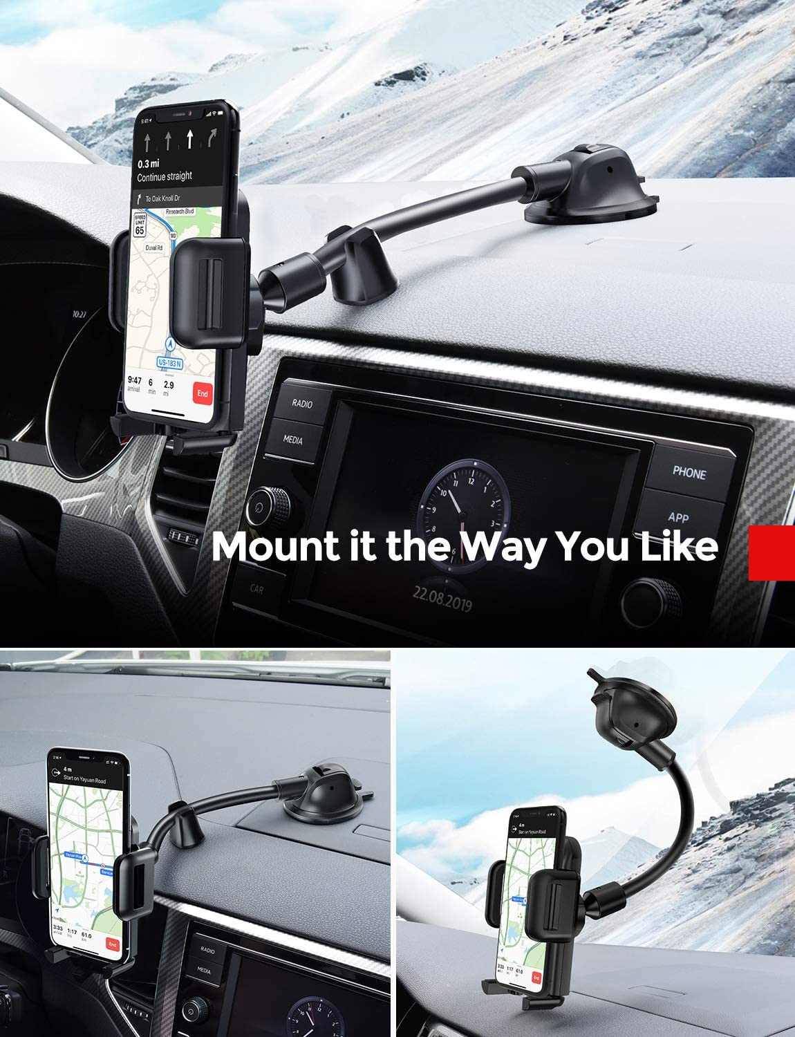 SE 6S 6 7 7 6 5S 4 Samsung S10 9 8 7 6 5 4 LG Huawei GZJ Car Phone Holder,Automatic Induction Car Phone Mount Compatible with iPhone Xs XS Max XR X 8 8