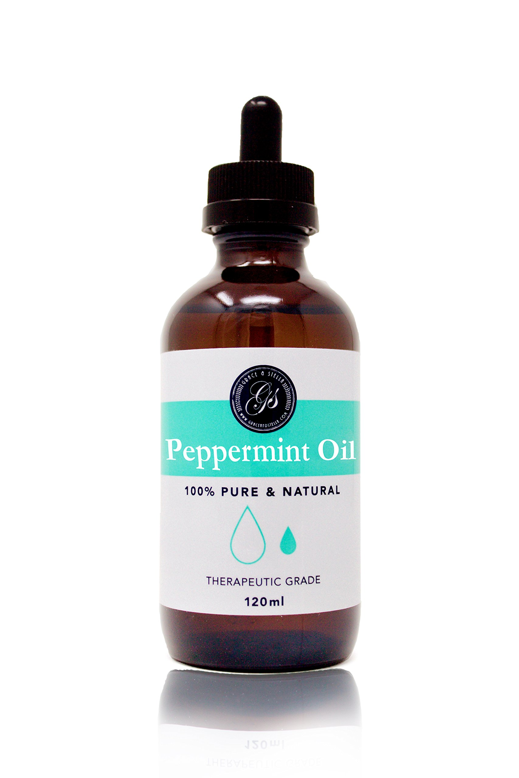 100% Pure & Natural Peppermint Oil - LARGE 4oz (120ml) - (Mentha Peperita) - Therapeutic Grade - Great for Massage Therapy, Bath Soak, Aromatherapy, Skincare, Home Fragrance by Grace & Stella Co. (Image #1)