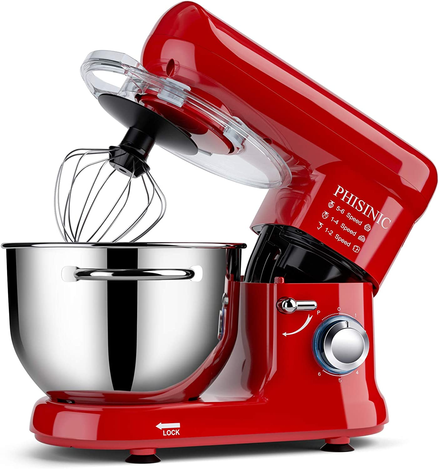 PHISINIC Stand Mixer, 5.8-QT 660W 6-Speed Tilt-Head Food Mixer, Kitchen Electric Mixer-Red