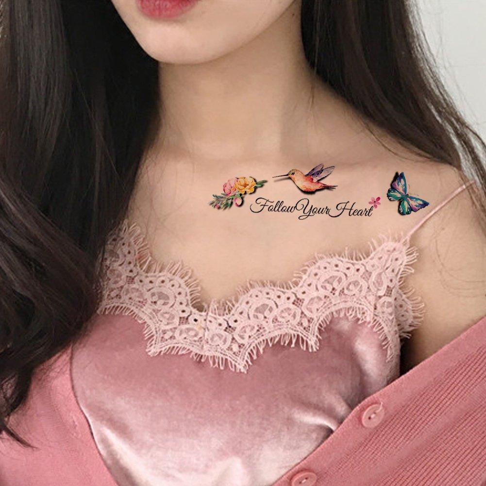 TAFLY flores y pájaros Mariposa 3d cuerpo arte tatuajes temporales ...