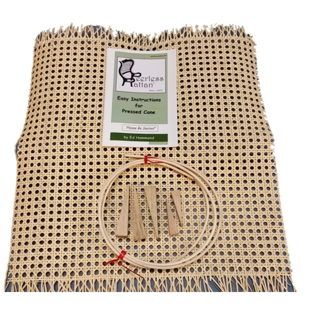 Pressed Cane Webbing Kit, Contains a 24''x24'' Piece of 1/2'' Fine Open Cane Mesh, 8' of #8 Spline, 5 Wood Wedges & Full Color Instruction Booklet by Ed Hammond (Breuer) by Weavemaster