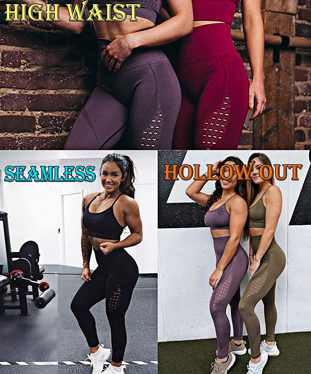 RIOJOY Womens Slimming Energy Fitness Leggings Seamless Stretchy Hollow Out Althletic Running Tights High Waist Tummy Control Compression Yoga Pants