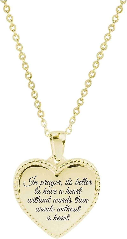 Prayer Pink Box Bezeled Heart Inspiration Necklace Gold