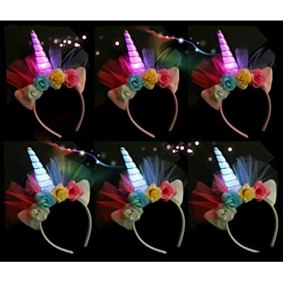 LED Flashing Unicorn Horn Headband Light up Glitter, Flower Ears Unicorn Headbands for Girls, Birthday Party Supplies, Favors and Decorations 6 Pack (Multi Flower): Health & Personal Care
