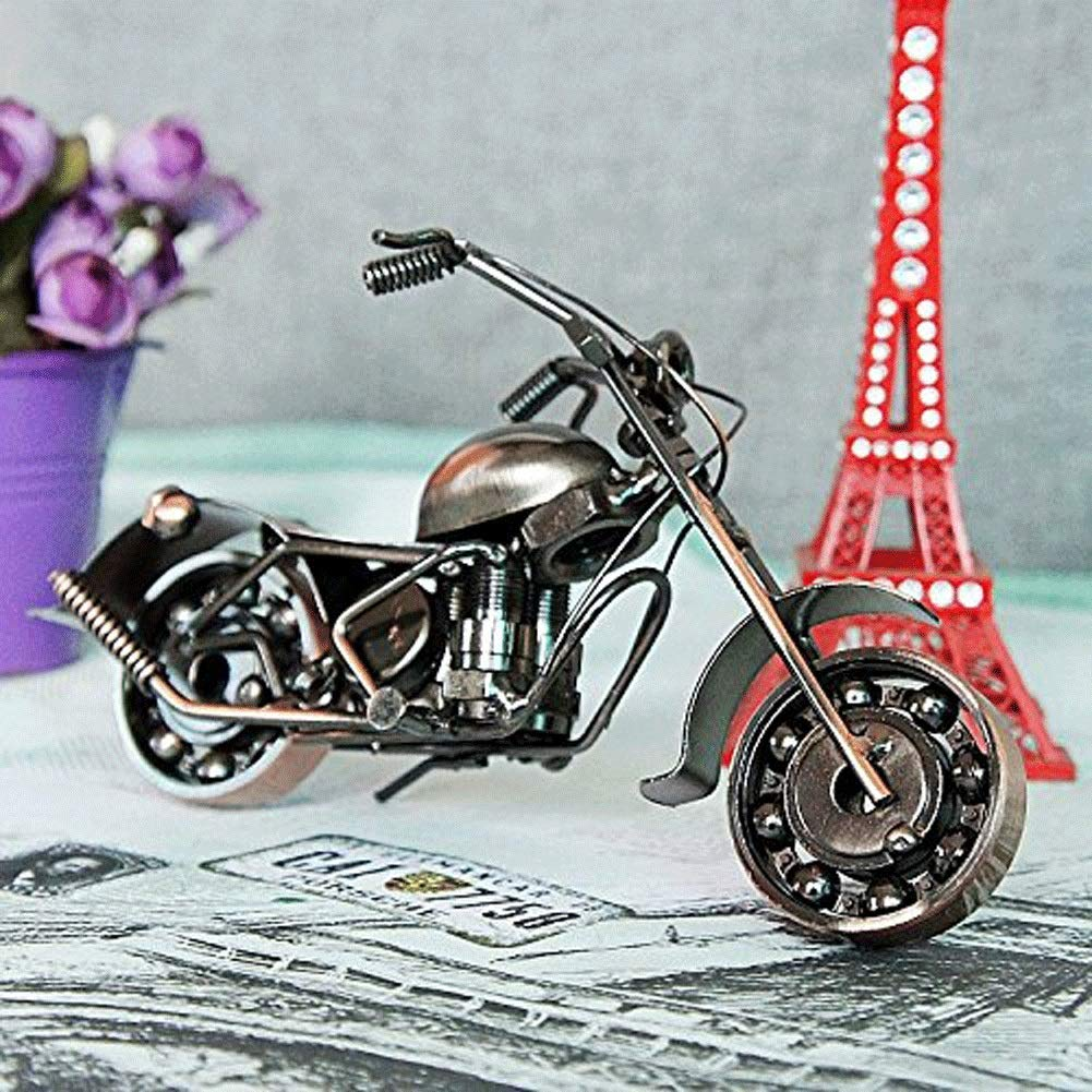 BeiMi Model Motorcycle, Iron Motorcycle Model/Classic Metal Motorcycle Model Creative Birthday Gift for Family Collection Gift Wine Red, 20 8 10 cm