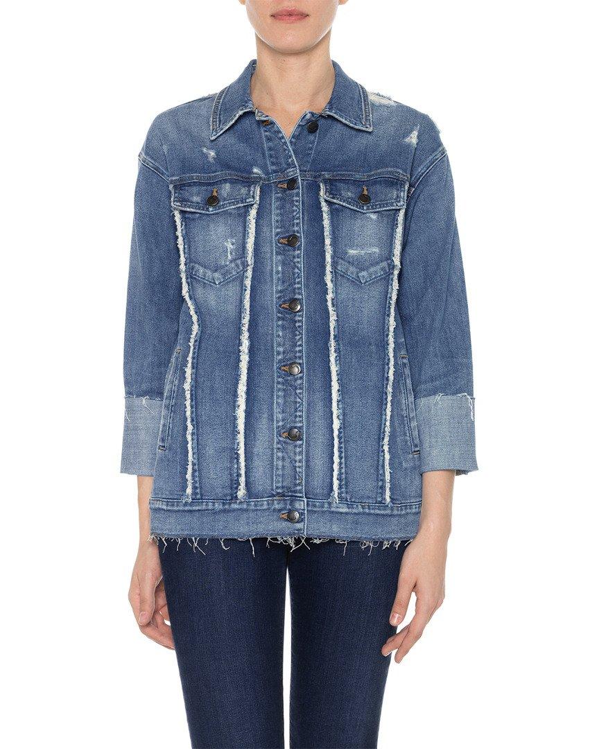 Joe's Jeans Women's Belize Frayed Detail Trucker Jacket, Yenz, M