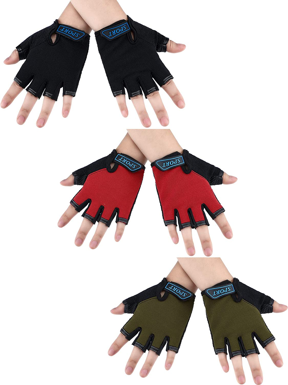 3 Pairs Kids Half Finger Gloves Sport Gloves Non-Slip Gel Gloves for Children Cycling Biking