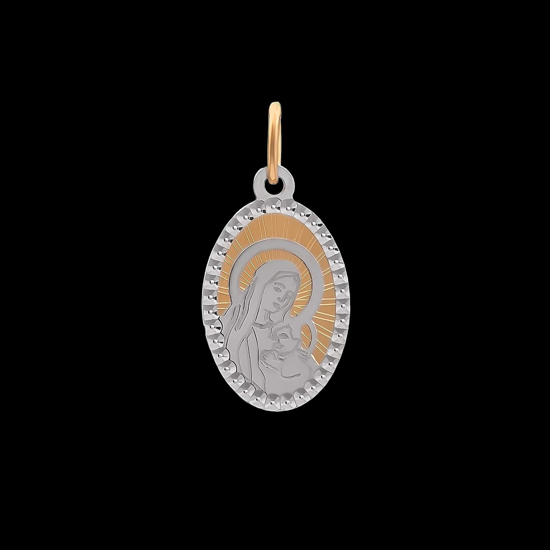 Lumarigold Anh/änger Heilige Jungfrau Maria mit Jesuskind Gold Gelbgold Wei/ßgold 585 14K Goldanh/änger Kettenanh/änger Gottesmutter Medaille Medaillon f/ür Damen M/ädchen Jungen