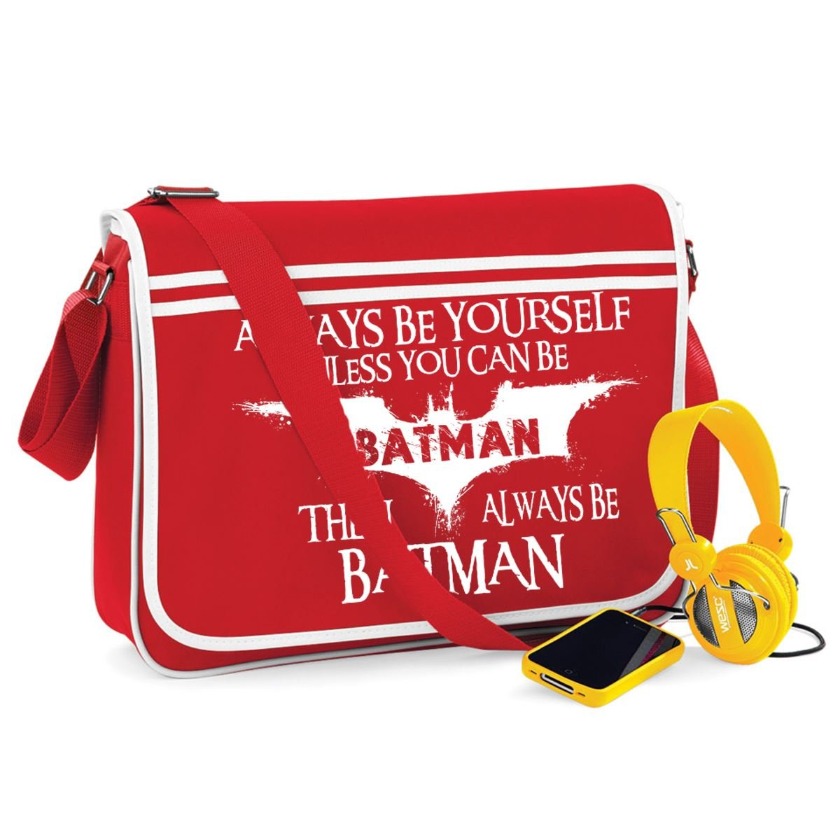 Always Be Batman-Unisex Funny Jokes Sayings Bagbase Retro Messenger Bag StarliteBags
