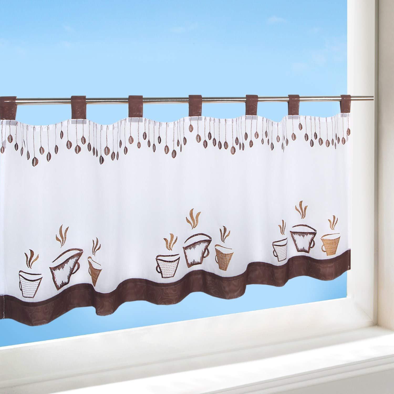 Delindo Lifestyle Rideau Brise-bise pour Cuisine et Salon Motif Moderne Blanc 45 x 115 cm