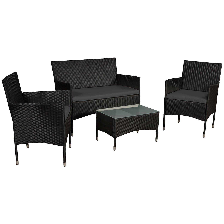 ArtLife Polyrattan Sitzgruppe Fort Myers in Schwarz mit dunkelgrauen Bezügen   Gartenmöbel-Set mit 2-er Sofa, Stühlen, Tisch und Sitzauflagen   Garnitur für 4 Personen