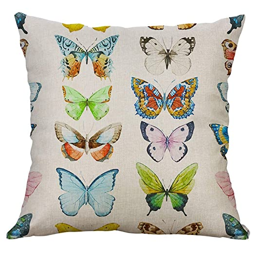 LEEDY Linen Series - Funda de cojín con diseño de Mariposas ...
