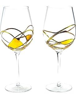 ANTONI BARCELONA Copa de vino pintado en oro - juego de 2 - Único pintado y soplado a mano, regalos para las mujeres,…