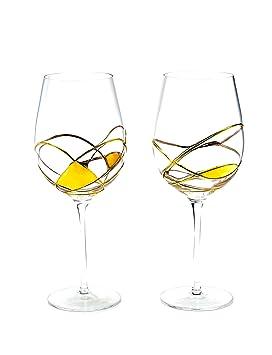 ANTONI BARCELONA Copa de vino pintado en oro - juego de 2 - Único pintado y soplado a mano, regalos para las mujeres, hombres: Amazon.es: Hogar