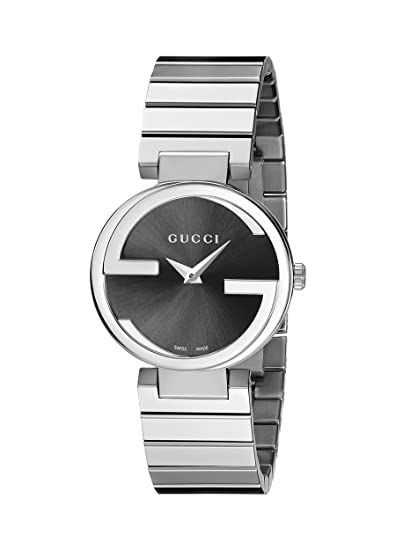 Gucci YA133502 - Reloj de cuarzo para mujer, con correa de cuero, color plateado