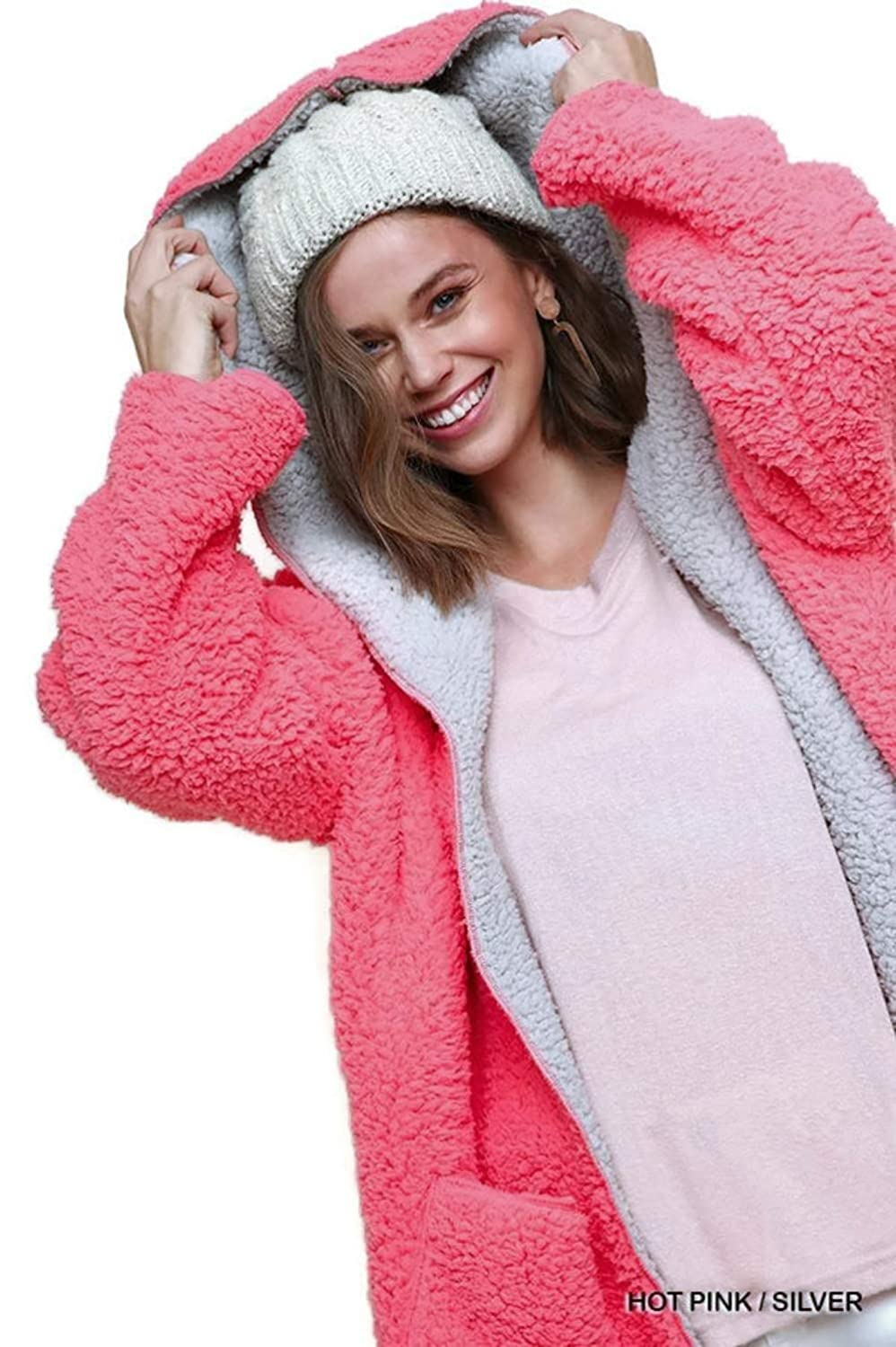 Hot Pink  Silver Umgee Fuzzy Twocolor Hood Jacket with Front Pockets