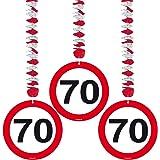 Trafic de fête d'anniversaire Pancarte à suspendre 7,6cm Décoration–70ème anniversaire