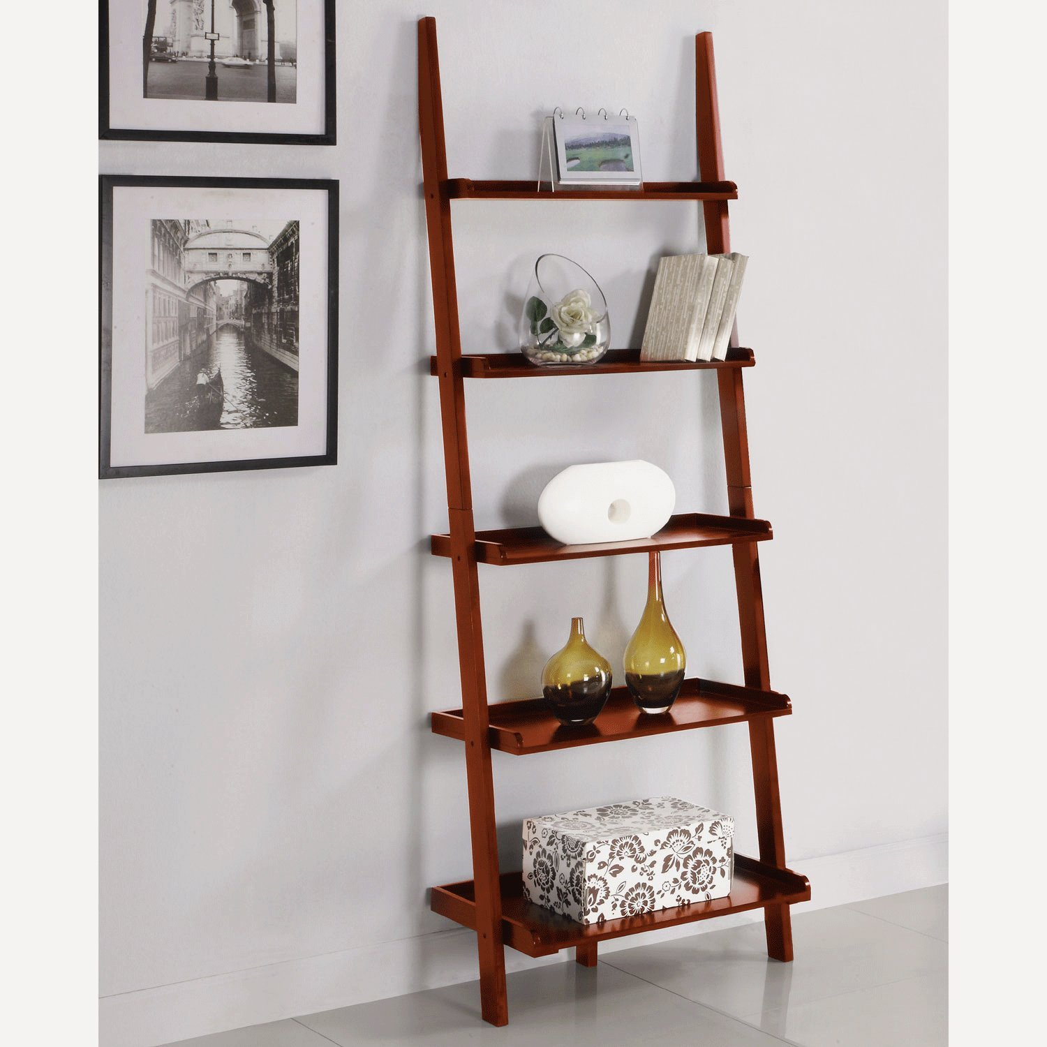 Amazon.com: AtHomeMart Leaning Ladder Bookshelf in Cherry Finish: Kitchen &  Dining