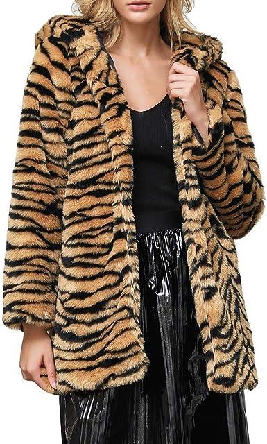 Womens Plush Overcoat Lapel Jackets Winter Warm Leopard Cardigan Furry Outwear