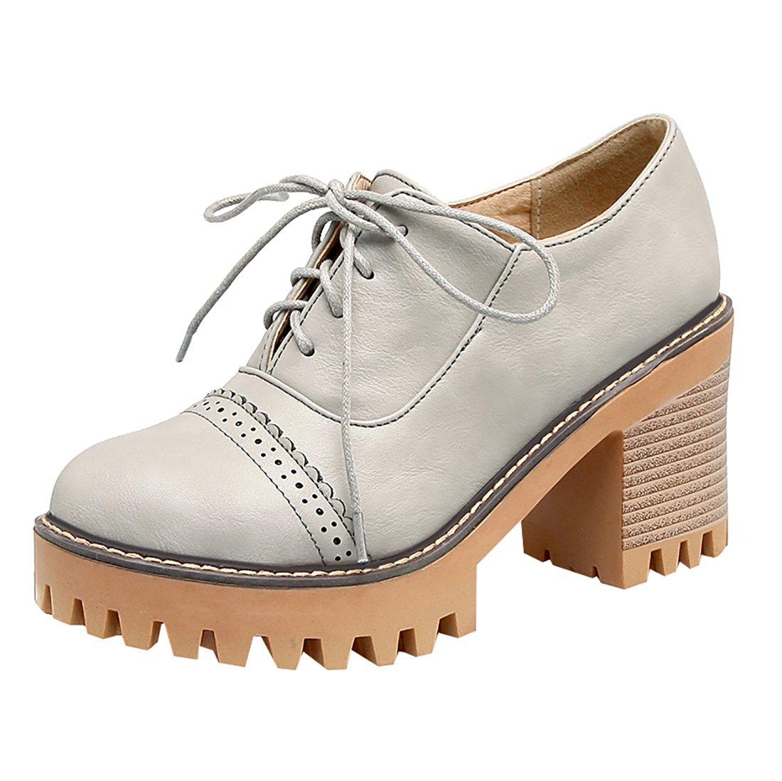 UH Damen Bequeme Chunky High Heels Plateau Schnuuml;r Pumps mit Blockabsatz 8cm Absatz Freizeit Schuhe35 EU|Grau