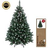 RS Trade® 120 cm grün mit Schnee künstlicher, exklusiver, dekorierter Weihnachtsbaum, beschneite Spitzen und Tannenzapfen, schwer entflammbar, mit Metallständer, ca. 500 Spitzen, Natur mit Schnee