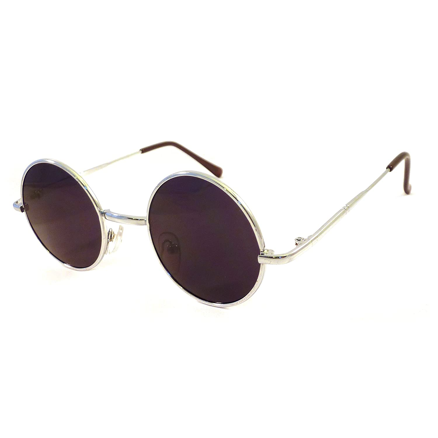 f57ddcbbba Amazon.com  VINTAGE 60s Lennon Style Small Round Metal Shades Sunglasses  SILVER SMOKE  Clothing