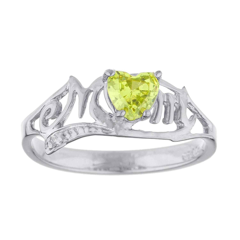 78330aa6369d2 Amazon.com: 0.50 Ct Simulated Peridot & Diamond Heart Mom Ring .925 ...