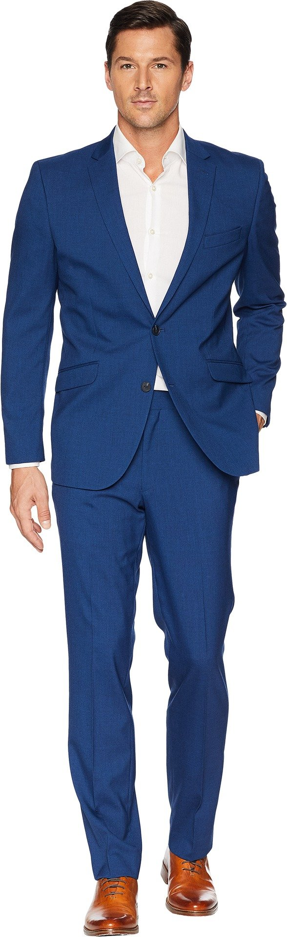 Kenneth Cole REACTION Men's Slim Fit Stretch Performance 32'' Finished Bottom Suit Blue 44 R R
