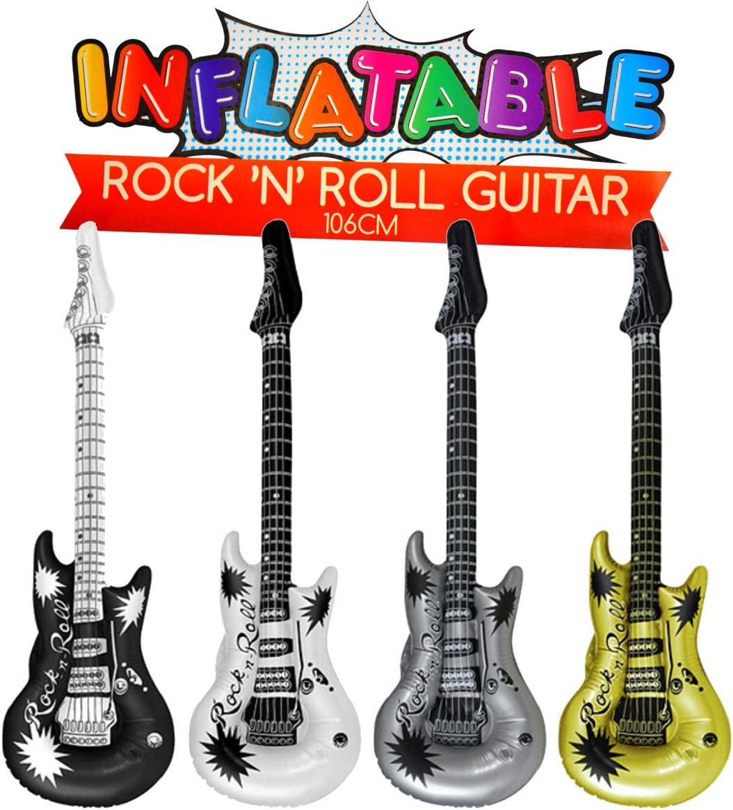 Henbrandt the Harlequin Brand 4X Aufblasbare Gitarre Luftgitarre Rock n Roll ca.106cm Metallic Wasser Party Deko Aufblasdeko