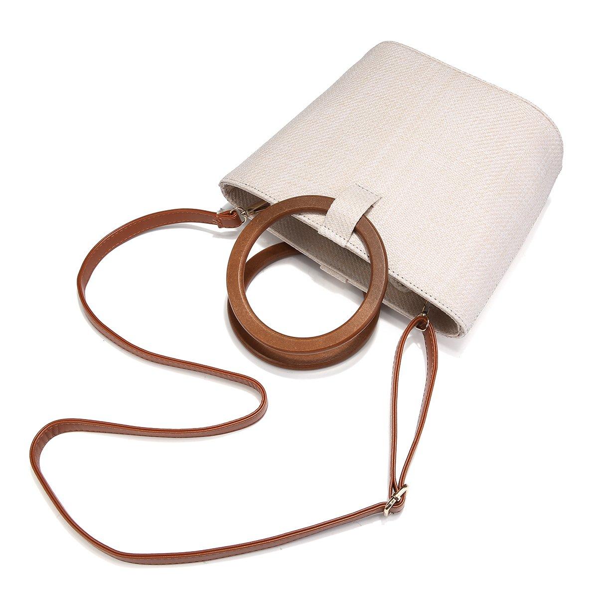 JOSEKO Strohhandtasche F/ür Damen Stroh Umh/ängetasche f/ür Strandreisen und Den T/äglichen Gebrauch Khaki