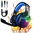 PS4 Headset Gaming Headset Xbox One Headset with 7.1 Stereo Surround Sound Noise Canceling Over Ear Headphones with Mic PC He