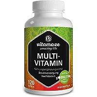 Capsule multivitaminico a dosaggio elevato, 23 preziose vitamine A-Z, minerali, sostanze minerali e oligoelementi, 120 capsule vegetali per 4 mesi SENZA additivi, prodotto di qualità Made in Germania