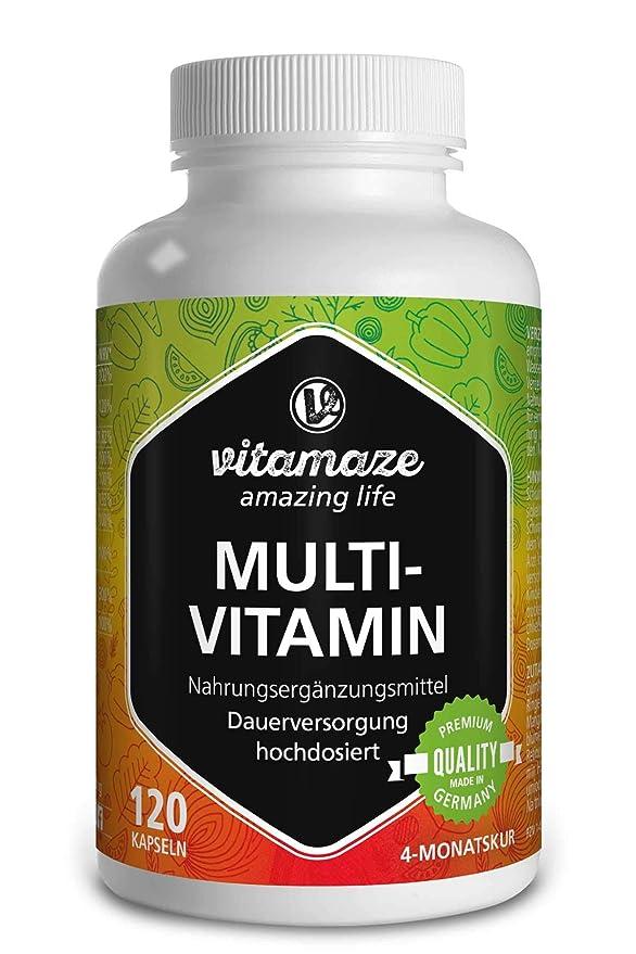 Cápsulas multivitamínicas de alta dosis, 23 valiosas vitaminas AZ, sustancias minerales y oligoelementos, 120 cápsulas vegetarianas durante 4 meses ...