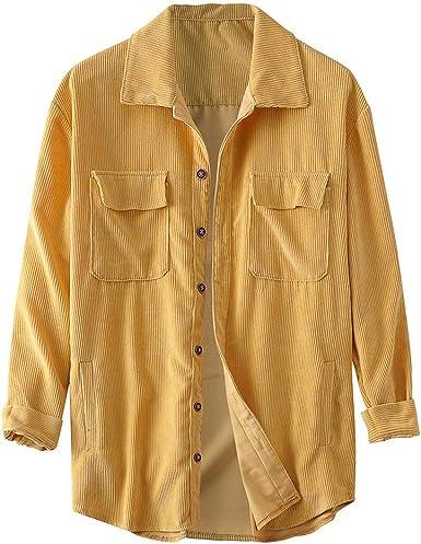 Abrigo de Camisa de Pana otoño Invierno para Hombre Blusa Casual de Manga Larga sólida cómodo Amarillo 2XL(Busto:137cm/53.94): Amazon.es: Ropa y accesorios