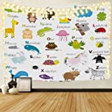 ABC Learning Alphabet Tapestry Kids Educational Decor with Fabric Funny Teaching Words, 60 x 50