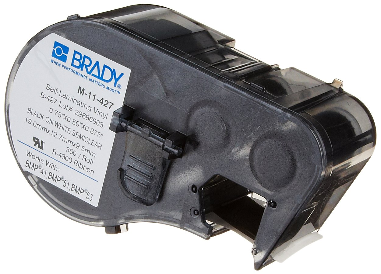Brady Self-Laminating Vinyl Label Tape (M-11-427) - Black on White, Translucent Tape - Compatible with BMP41, BMP51, and BMP53 Label Makers - .75'' Height, .5'' Width