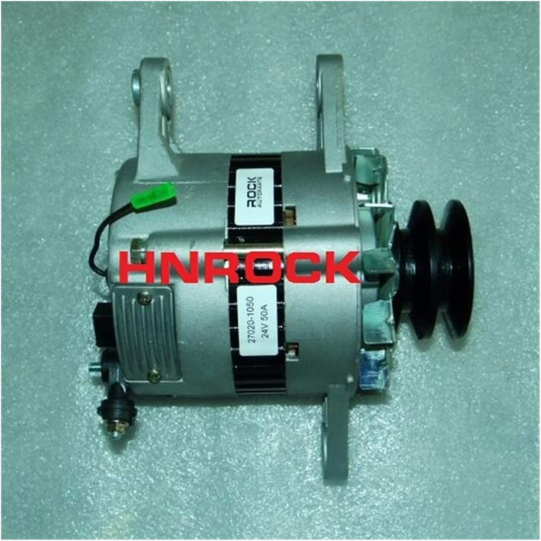 HXFANG® Nuevo Alternador de 24V 50A 27020-1050 02116010110 02116010111 02116010112 Fit for Hitachi Excavator EX270LC EX270LC-5 W/Hino H06CT1