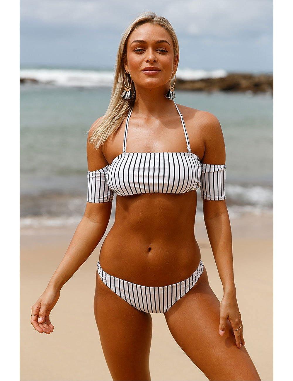 be7de7a9f3 Amazon.com: Pinkyee Shoulder Striped Bikini Swimsuit: Clothing