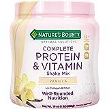 Nature's Bounty Complete Protein & Vitamin Shake Mix with Collagen & Fiber, Contains Vitamin C for Immune Health, Vanilla Fla