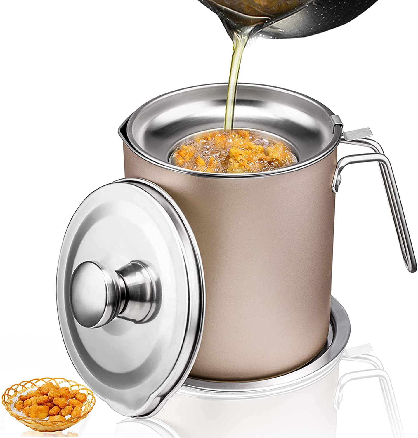 Bacon Grease Container,Oil Container Kitchen,2L Stainless Steel Oil Storage Can Container with Strainer,Removable a Coaster Tray for Storing Frying Oil and Cooking Grease (Gold)