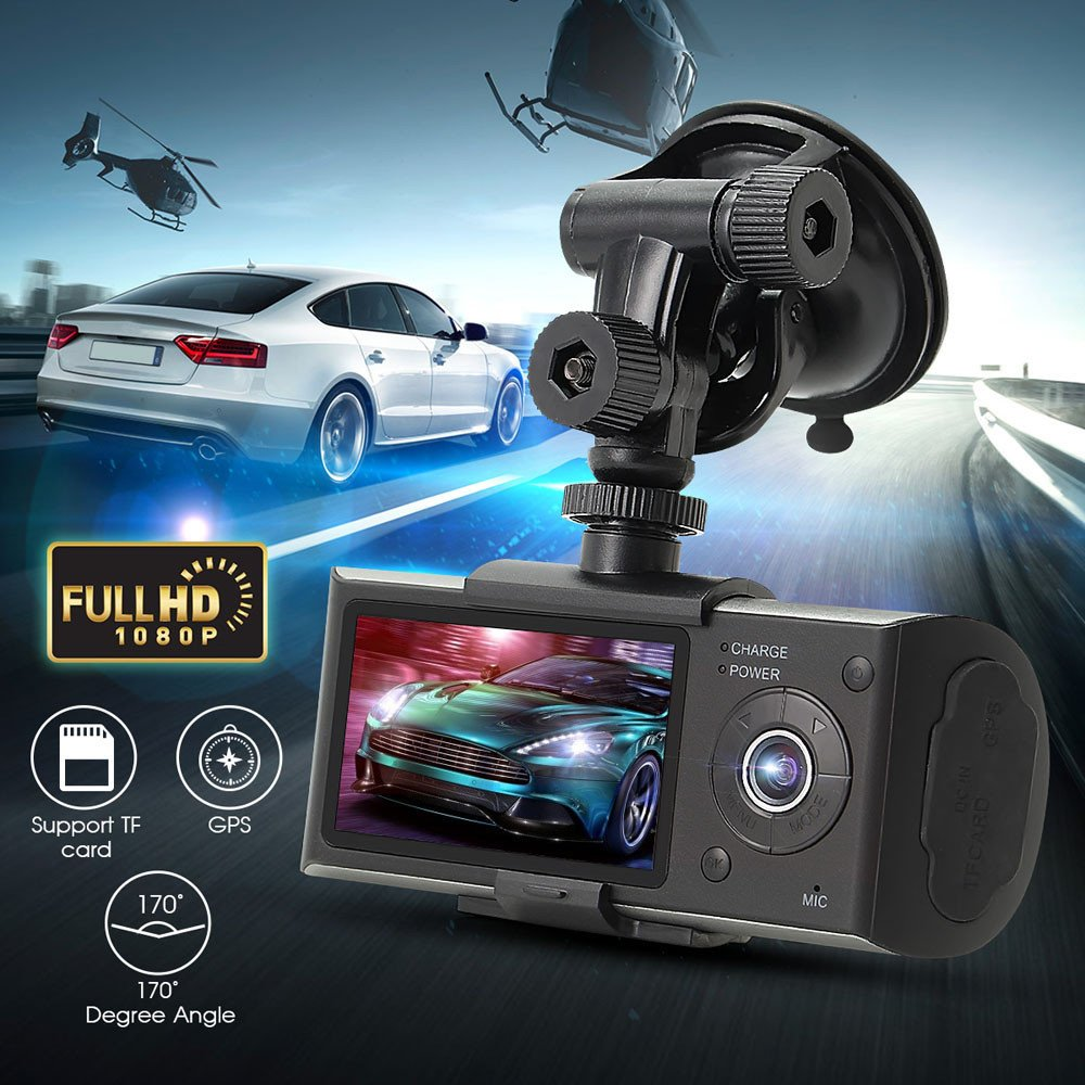 "South Weekend Dual Len Camera, 2.7"" Vehicle Car DVR Camera Video Recorder Dash Cam G-Sensor GPS,Front Lens with 140 Degrees Wide Angle, Back Lens with 120 ..."