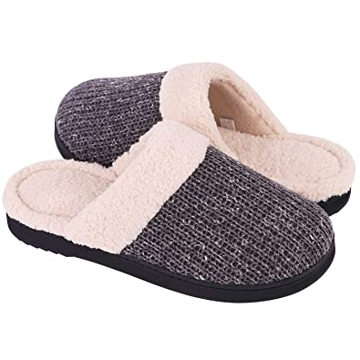 7f374315a6f1 Snug Leaves Wome s Cozy Yarn Knitted Slippers Memory Foam Plush Lining  Indoor Outdoor Anti-