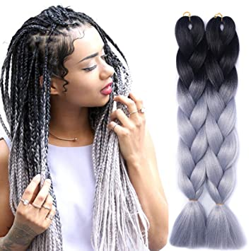 Hair Braids Women Heat Resistant Fiber Ombre Jambo Braids Girl Hair Extension African 24inch Synthetic Braiding Hair Lady Gradient Dreadlock Hair Extensions & Wigs