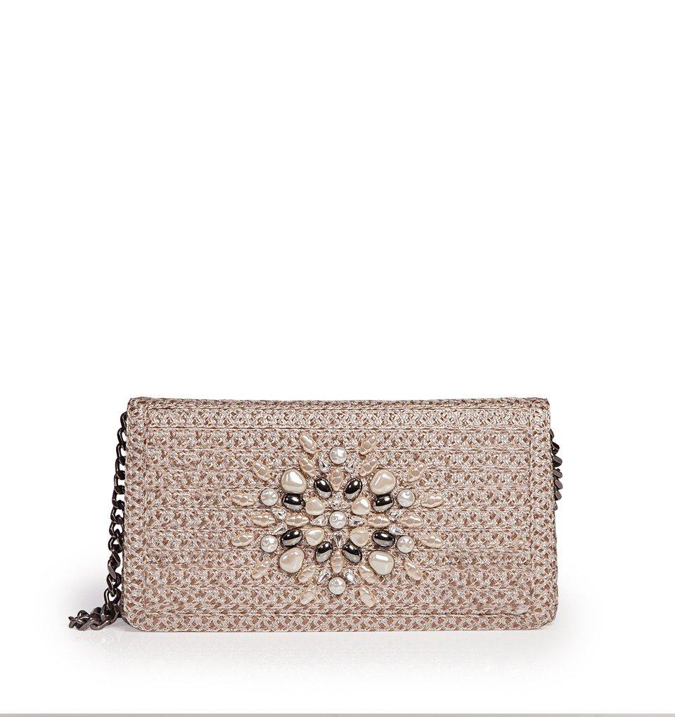 Eric Javits Luxury Fashion Designer Women's Handbag - Devi Clutch - Taupe Glow